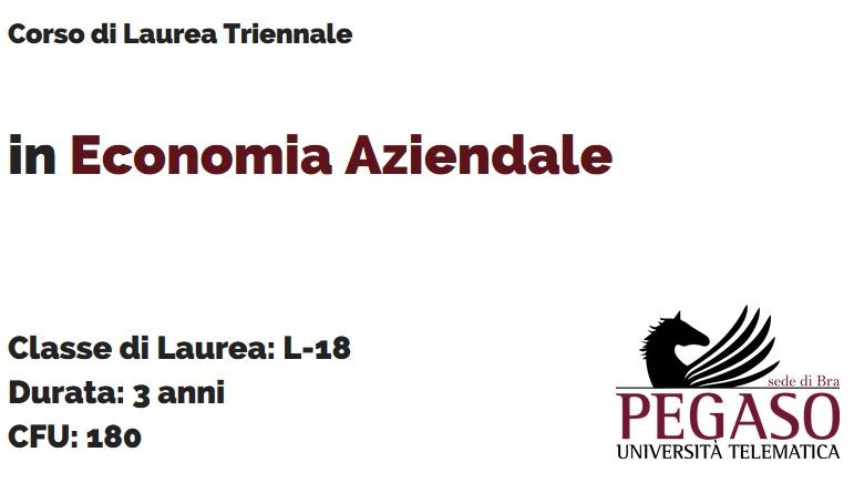 Corso di Laurea Triennale in Economia Aziendale L 18 - Unipegaso