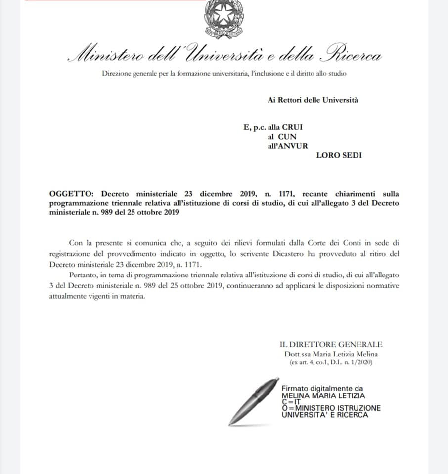 Ritiro Decreto 23 dicembre 2019 n 1171